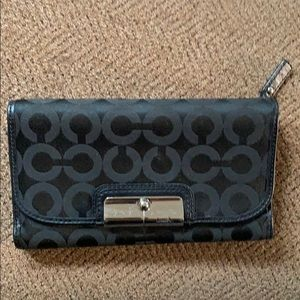 Coach Black Wallet with Silver Accent